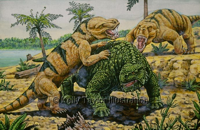 Inostrancevia attacks Scutosaurus