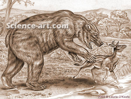 Agriotherium Attacking a Sivatherium